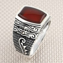 Wholesale Silver Men's Ring With Leaf Pattern