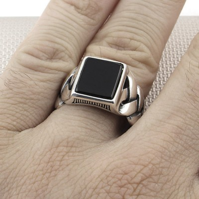 Knit Pattern Wholesale Silver Men Ring