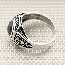 Marquise Stone Wholesale Silver Men Ring