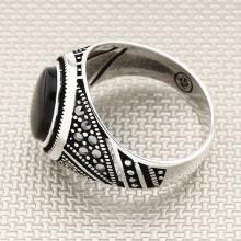 Anillo de plata para hombre al por mayor de piedra marquesa