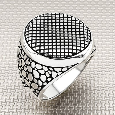 Round Grid Pattern Wholesale Silver Men's Ring