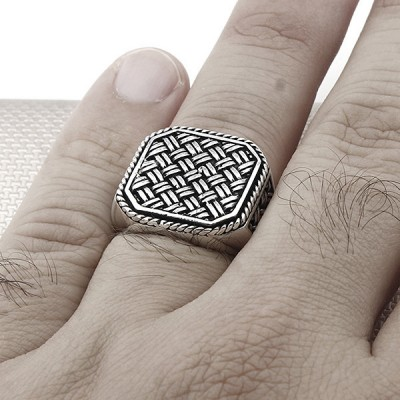 Wholesale Silver Men's Ring With Wire Mesh Pattern