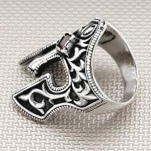 Sparta Helmet Stone Wholesale Silver Men Ring