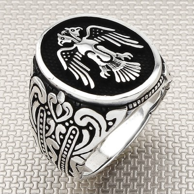 Double Headed Eagle Wholesale Silver Men Ring