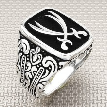 Double Sword Wholesale Silver Men Ring