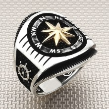 Compass Wholesale Silver Men Ring