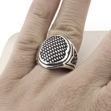 Grid Patterned Wholesale Silver Men's Ring