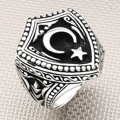 Moon Star Rigged Wholesale Silver Men Ring