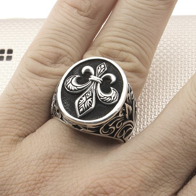 Gothic Figured Wholesale Silver Men's Ring