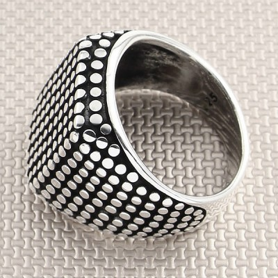 Dotted Design Square Wholesale Silver Men Ring