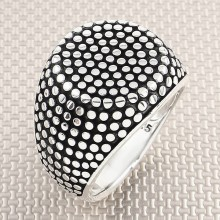 Dotted Design Square Round Wholesale Silver Men Ring