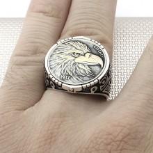 Eagle Figured Wholesale Silver Men's Ring