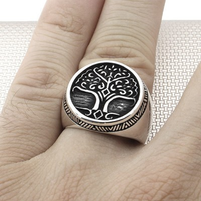 Tree Of Life Silver Men Ring